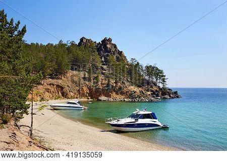 The Beautiful Sandy Beach On Summer Sunny Day. Yachts Near The Shore. Lake Baikal, The Sandy Bay.