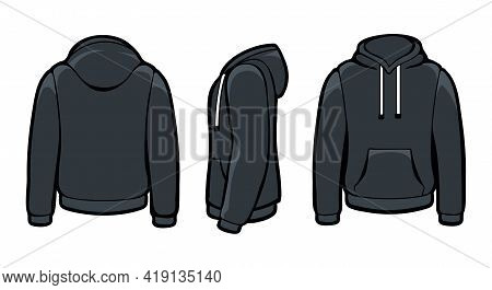 Black Hoody Sweatshirts. Man Isolated Hoodie Sweater Mockups, Sport Jacket With Hood Blank Fashion D
