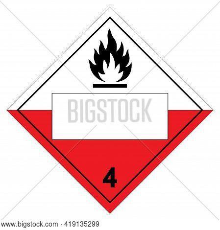 Class 4 Blank Spontaneously Combustible Symbol Sign, Vector Illustration, Isolate On White Backgroun