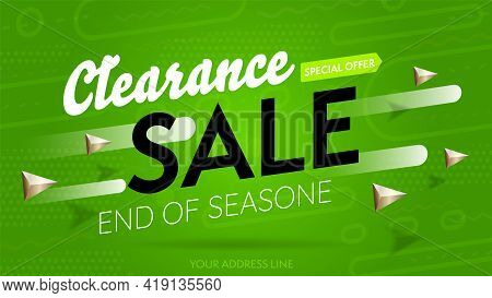 Clearance Sale With Special Offer To End Of Season Campaign. Three-dimension Banner Template With Sh