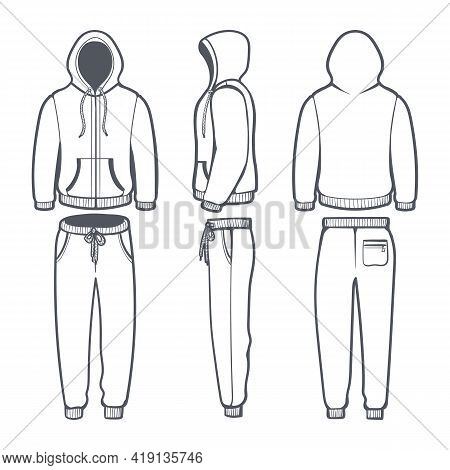 Man Hoodie Tracksuit. Male Sweatshirt With Hood And Sweatpants Template, Active Sportswear With Jack