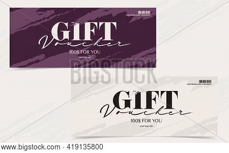 Voucher Template With Promo Code And Monetary Gift. Invitation Card, Present Certificate Template Or