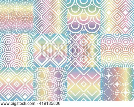 Metalic Foil Rainbow Patterns. Holographic Elegent Textures, Multicolor Neon Glitter Metallized Patt