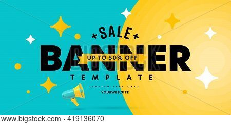 Sale Banner Template Offering Deal To Save Up To 50 Percent. Percentage Price Discount Advertisement
