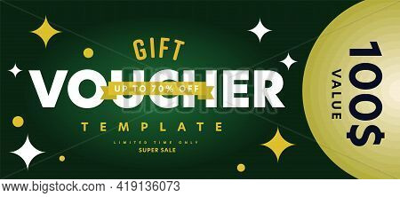 Gift Voucher Template With Limited Time Super Sale Offer. Special Up To 70 Percent Price Off Or Mone