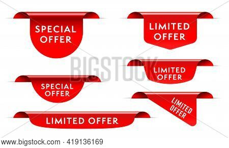 Red Market Sale Tag With Special Limited Offer Template Set. Realistic Three-dimensional Shopping Di
