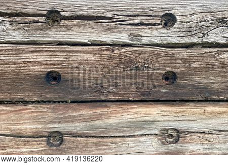 Closeup Overhead View Of Old Wooden Railroad Railway Ties Repurposed Retro Lumber