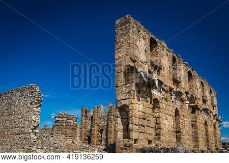 Roman Ruins At Greco-roman City In Antalya Province Of Turkey. Ancient City Of Pamphylia.