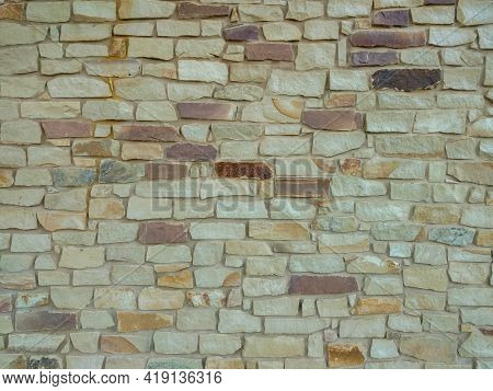Sand Stone Granite Fortress Castle Garden Wall Wide Angle View With Deep Shadows