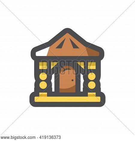 Log Wooden House Vector Icon Cartoon Illustration.