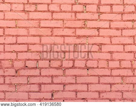 Brick Block Wall Painted Red And Weathered Or Garden Building Structure