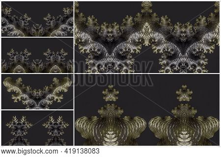 Set Of 3d Illustrations Of Moss Green And Brown Spiky And Scaly Textured Objects