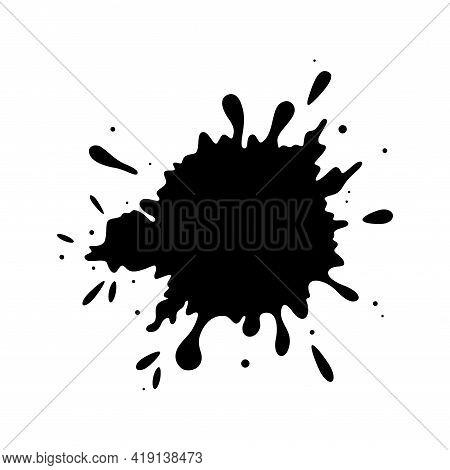 Muddy Splatter Texture. Black Liquid Drop Shape Isolated In White Background. Flat Vector Illustrati
