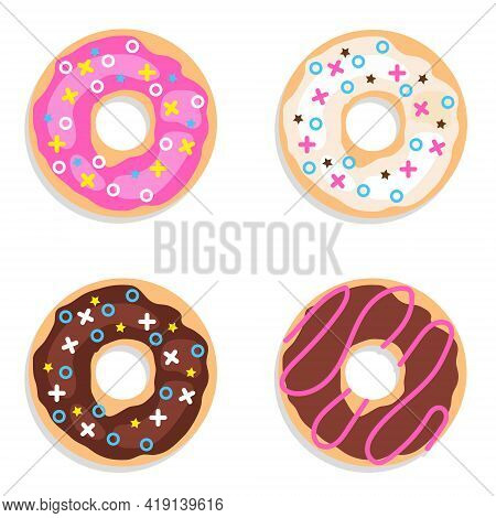 Donuts, Set Of Chocolate Donuts Isolated On White Background. Vector Illustration. Vector.
