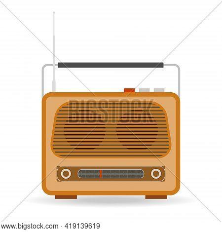 Retro Radio. Retro Radio Icon Isolated On White Background. Vector Illustration. Vector.