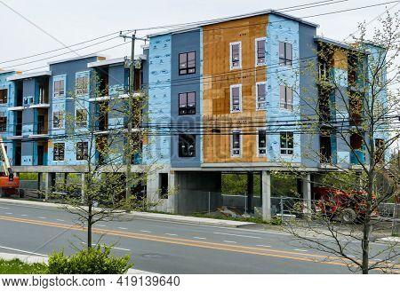 NORWALK, CT, USA - APRIL 29, 2021:  New construction building next Route 1