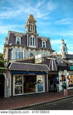 PROVINCETOWN, MASSACHUSETTS, USA -SEPTEMBER 14, 2014: Store front with beautiful Provincetown architecture in Cape Cod