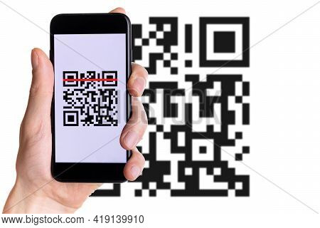Scan Qrcode. Hand Holding Digital Mobile Smart Phone With Qr Code Scanner On Smartphone Screen For P