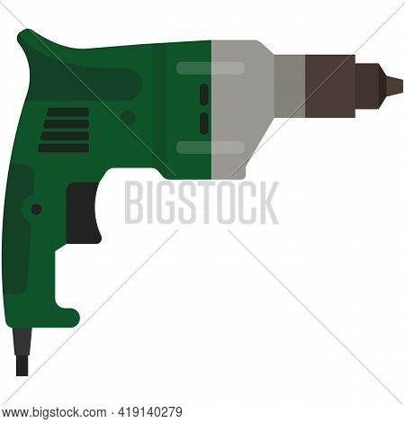 Drill Or Jackhammer Electric Power Tool Vector Isolated