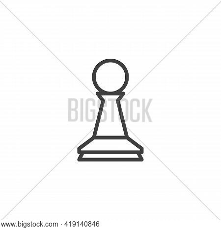 Chess Pawn Line Icon. Linear Style Sign For Mobile Concept And Web Design. Chess Piece Outline Vecto