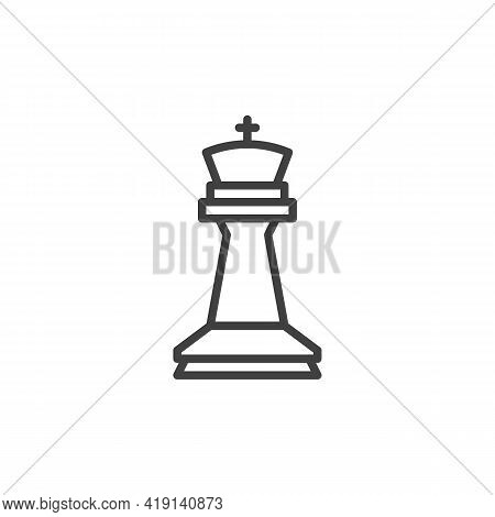 King Chess Piece Line Icon. Linear Style Sign For Mobile Concept And Web Design. King Figure Outline