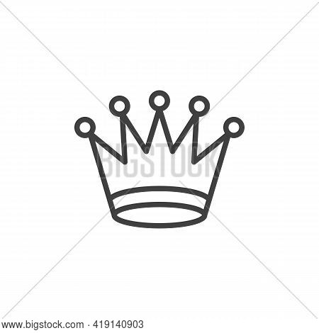Queen Chess Crown Line Icon. Linear Style Sign For Mobile Concept And Web Design. Crown Outline Vect