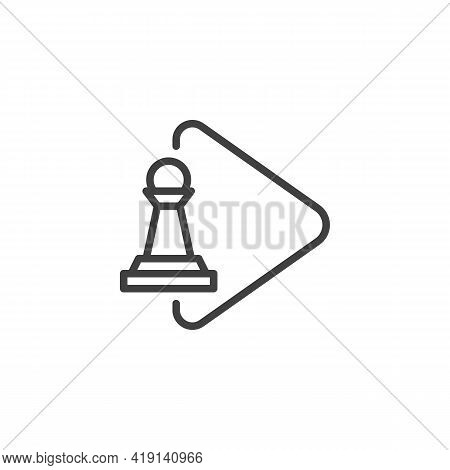 Chess Game Play Line Icon. Linear Style Sign For Mobile Concept And Web Design. Pawn Chess Play Outl