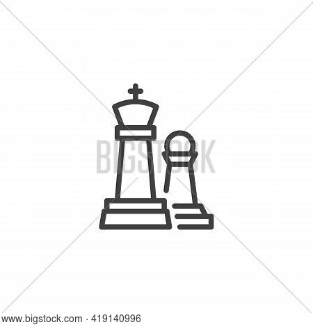 King And Pawn Chess Piece Line Icon. Linear Style Sign For Mobile Concept And Web Design. Chess Figu