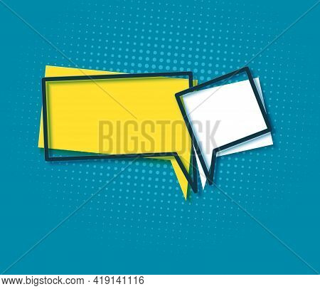 Two Speech Bubbles And Dark Frames In Flat. Memphis Style Banner With Abstract Geometric Shapes. Col