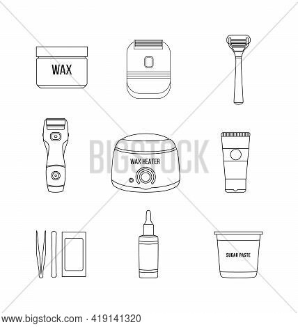 Wax Hair Removal And Shaving Tools Set, Black Line Vector Illustration Isolated.