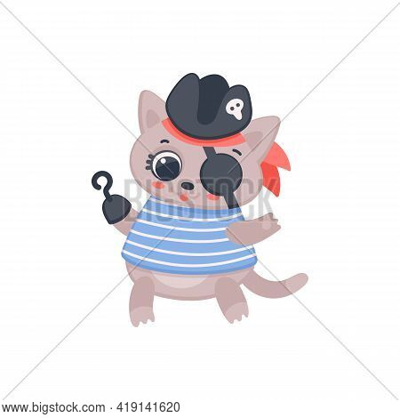 Cute Pirate Cat With Eyepatch, Cartoon Animal In Sailor Costume