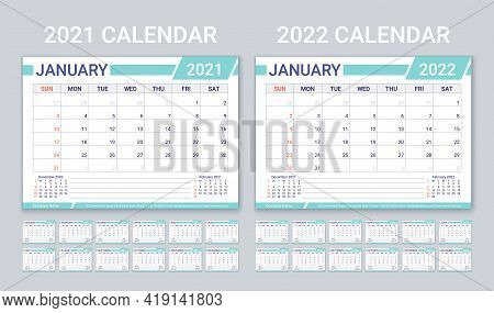 2021 2022 Calendars. Planner Calender Template. Week Starts Sunday. Vector. Horizontal Monthly Diary