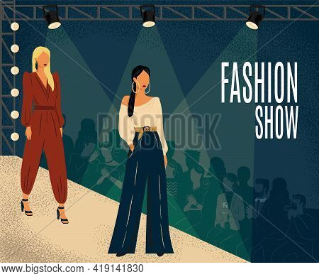 Fashion Show Concept Vector Illustration. Hand Drawn Fashion Week Poster With Models On A Catwalk Po