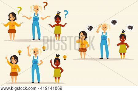 Group Of Little Pensive Girls Thinking, Flat Vector Illustration Isolated.