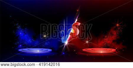 Versus Vs Sign With Blue And Red Empty Podiums Or Pedestals, Glow Sparks And Smoke On Black Backgrou