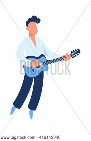 Guitar Player. Cartoon Guitarist Playing Music. Man Holding String Acoustic Instrument. Cute Perform