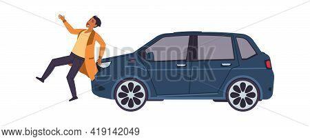 Car Hit Man. Auto Accident Concept. Vehicle Bumped Pedestrian. Man Crosses Road Injured By Automobil