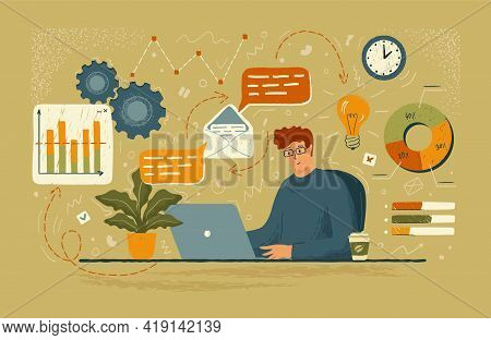 Business Man Works With Laptop In The Office. Hand Drawn Business Concept Vector Illustration. Finan