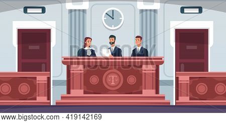 Court. Cartoon Courtroom Interior With Judges Sitting At Desk In Uniform. Tribunal Process. Lawyers