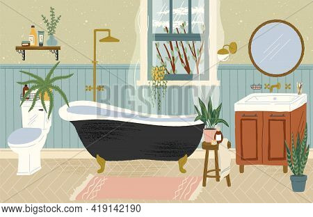 Bathroom Interior With Bathtub, Toilet And Washstand. Hand Drawn Vector Illustration In Cozy Scandin