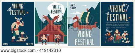 Banners Or Posters For Viking Festival With Warriors, Flat Vector Illustration.