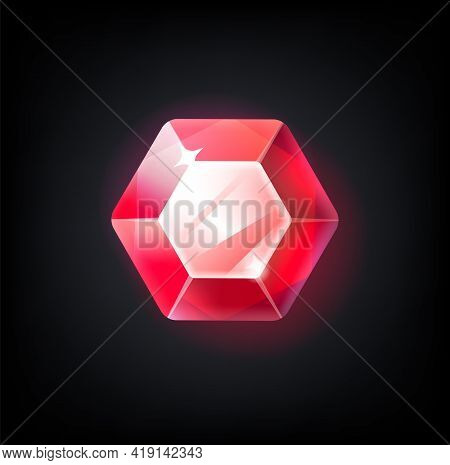 Red Gem. Cartoon Jewelry For Game Achievement. Top View Of Faceted Ruby. Isolated Precious Stone Wit