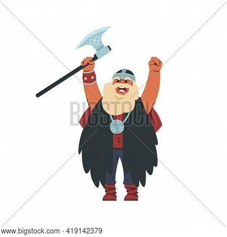 Viking. Cartoon Scandinavian Character In Military Historic Costume. Medieval Norwegian Warlike Barb