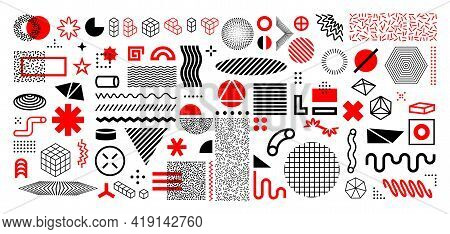 Memphis Abstract Shapes. Geometric Graphic Design Elements. Contemporary Line And Circles Figures Wi