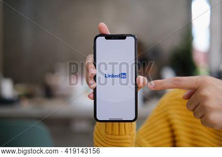 Chiang Mai, Thailand: May 03, 2021 : Linkedin Logo On Phone Screen. Linkedin Is A Social Network For