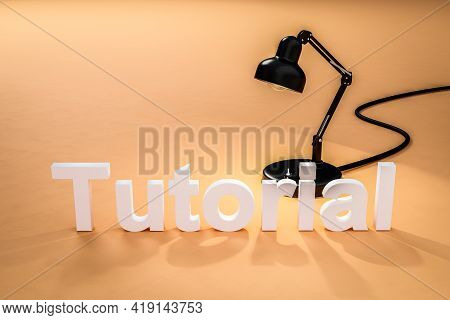 Industry Style Desk Lamp On Dark Orange Colored Surface With Lettering Tutorial; Concept 3d Online T