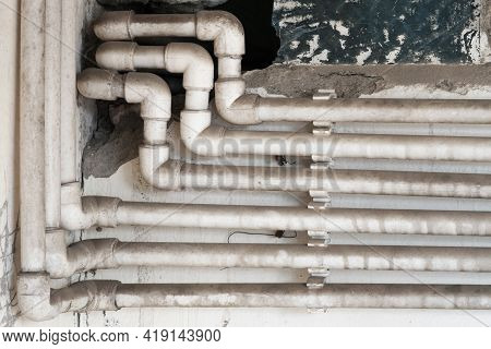Dirty And Dusty Water Pipes Made Of Polypropylene Plumbing In The House