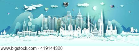 Travel Architecture Austria Landmarks In Vienna Famous City Of Europe On Blue Background With Balloo