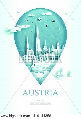 Vector Illustration Pin Point Symbol. Travel Austria Architecture Monument Pin In Europe With Ancien