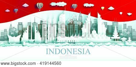 Travel Indonesia Top World Famous City Ancient And Palace Architecture. Tour Jakarta Landmark Of Asi